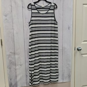 Matty M Black and White Stripped Sexy Maxi Dress